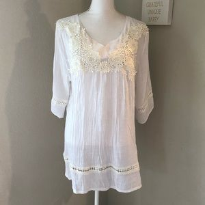 White Semi Sheer Embroidered Tunic